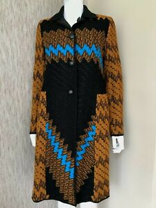 Missoni Reversible Zickzack Häkel Strick & Satin Shell Mantel Größe UK 8 RETAIL £ 1940