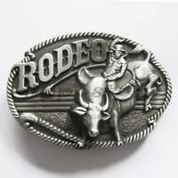 Rodeo Cowboy Riding Bull Western Metal Belt Buckle
