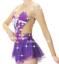 Figure Skating Dress Women's Girls' Ice Skating Dress purple Open Back Spandex
