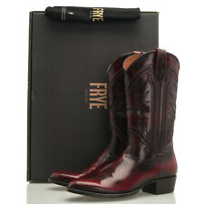 Frye Ross Braided Tall Black Cherry Burgundy Red Cowboy Boots - Men's 9 M