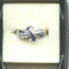 10KT WHITE GOLD SQUARE SAPPHIRES ROUND  DIAMONDS BYPASS  RING SIZE APPROX 7 1/2