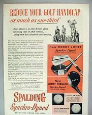 Spalding Golf Club PRINT AD - 1953 ~~ Bobby Jones & Jimmy Thomson