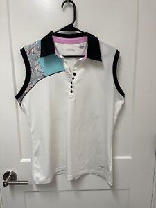 Cutter & Buck Annika Women's Golf Polo Shirt Sleeveless Top Spandex EUC
