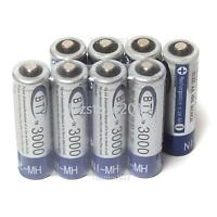 New 8 Pack BTY 3000MAH AA Size Ni-MH Rechargeable Durable Batteries Battery USPS