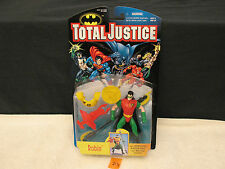 TOTAL JUSTICE ROBIN WITH SPINNING RAZOR DISC BATTLE STAFF Action Figure NEW 1996