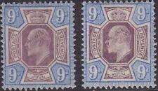 SG 250 9d opaco/Ardesia Viola & Blu oltremare M39 (1/2) Coppia in fine e fresco Mounte