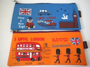 """2 I Love London Pencil Case Zipper Bag Doubledecker Bus Taxi Cab Union Jack 8"""""""