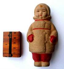 1930s-1940s USSR Russian Soviet SOUND Rubber Toy Little GIRL in FUR COAT Rare
