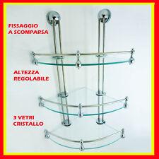 angoliera portasapone doccia vetro 3 ripiani accessori bagno