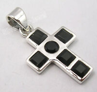 .925 Sterling Silver Real BLACK ONYX SEMI PRECIOUS GEMSTONE CROSS Pendant 1.2""