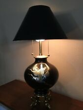 "Vintage Marbro Lamp, Japanese Cranes Mixed Metal 2 Lights Table Lamp, 30"" Tall"