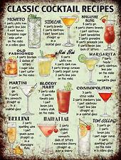 Classic Cocktail ricette pubblicità vintage con segni REPRO Wall Art