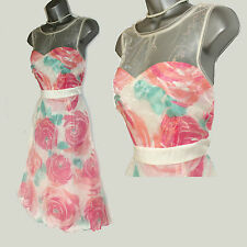 MONSOON Ivory/Pink Julietta Roses Floral  Prom Cocktail Dress UK 12 EU-40
