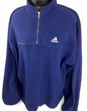 Vintage Adidas Fleece Sweatshirt Pullover Sweater 1/2 Zip Hip Hop Men L Blue RAR