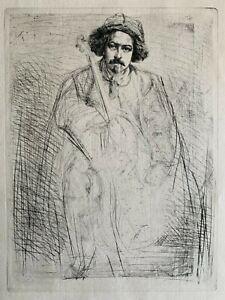 """James M. Whistler """"J. Becquet, Sculptor (The Fiddler)"""" (1859) Original Etching w"""