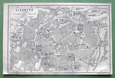 1904 MAP ORIGINAL Baedeker - POLAND Liegintz Legnica Town Plan