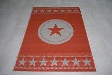Orange Star Large Modern 120cm x 170cm Star Flat Weave Hard-Wearing Stars Rug
