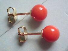 Korallen Kugel Ohrstecker 6 mm Gold 333,Ohrstecker Gold 333 mit Edelkoralle 6 mm