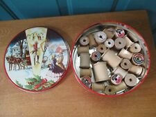 Tin Full of Vintage Empty Wooden Thread Spools