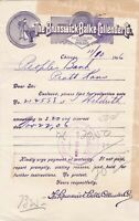 U.S. The Brunswick Baulke Collender Co. Logo Chicago 1906 Paid Invoice Ref 44051
