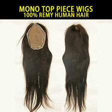 """MONO TOP PIECE WIG 100% REMY HUMAN HAIR EXTENSION 6.5""""X5""""AREA 18""""LONG"""