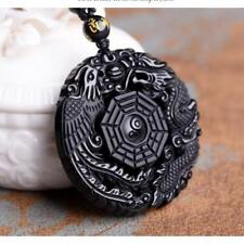 Volcanic Obsidian Phoenix & Dragon Yin Yang Bead Natural Black Pendant Necklace