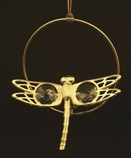 AUTHENTIC SWAROVSKI CRYSTAL ELEMENT DRAGONFLY FIGURINE/ORNAMENT 24K GOLD PLATED