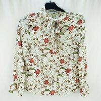 Women's Sheer Floral Top Lightweight Long Sleeve White Red Green Flower Small