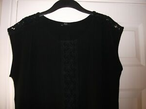 F&F BLACK LADIES TOP SIZE 12 CAP SLEEVES LOOSE FIT EMBROIDERY DETAIL