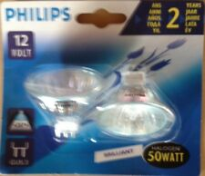 2 x Philips Brilliant Lampe Halogène 50 W 12 V 36 ° UV stop gu5, 3 Lampe Halogène