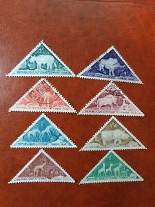 Chad - 1962 - Prehistoric rock engravings in Tibesti Mountains - 8 stamps - CTO