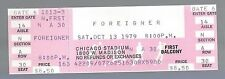 1979 Foreigner Full Unused Concert Ticket @ Old Chicago Stadium