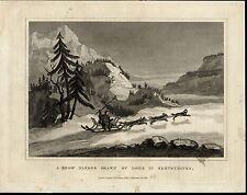 Dog Sled Snow Sledge Mountains Alpine Trees scarce 1831 antique engraved print