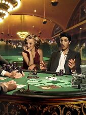 MARILYN MONROE ELVIS PRESLEY PLAYING POKER 18x24 SMALL POSTER casino gamble art