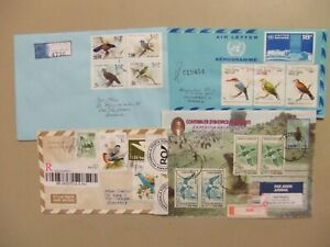 Four registered covers with BIRD stamps.Two aerograms,one postal stationery