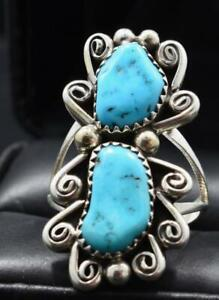 Kingman Mine Turquoise Ring with Sterling Silver by Julia Etcitty, Navajo