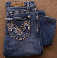 Seven 7 jeans 27 low rise boot cut flare distressed blue denim, frilly pockets