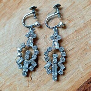 Vintage Screw Back Drop Chandelier Earrings Statement Diamante Glamour Costume