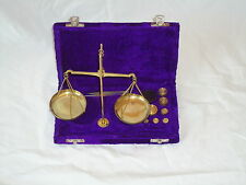 Brass Scales in a Velvet Box With 50 gram of Weights