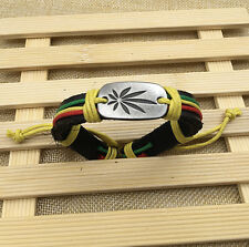 Marijuana Leaf Weed Hippy Hemp Leather Braided Bracelet Chain Adjustable