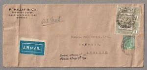 Long Commercial Airmail Cover Bombay India To Ipswich 25th Sept 1932