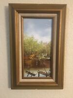 Antique/Vintage Painting Forgotten Creek No Fishing Old Cane Pole