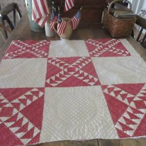 Well Quilted Civil War Era Antique Wild Goose Chase RED White Cutter PC 35x32