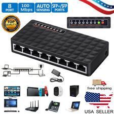 10/100 Mbps 8 Port Fast Ethernet LAN Desktop RJ45 Network Switch Hub Adapter US