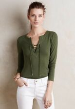 NEW Anthropologie Lace Up Tee Sz S 4 6 (fits XS 0 2) Moss Green - By Deletta