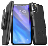 For iPhone 11 / Pro Max Belt Clip Case Ultra Slim Cover with Holster (Black)
