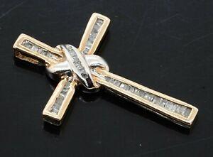 14K 2-tone gold beautiful .66CTW diamond cross/crucifix pendant