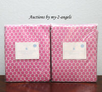 TWO Pottery Barn Kids MINI DOT LUXE JACQUARD Blackout Panels 44X84 BRIGHT PINK