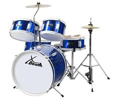 """16"""" Komplett Schlagzeug Kinder Drum Set Drum Kit Trommel Becken Sticks DVD Blau"""