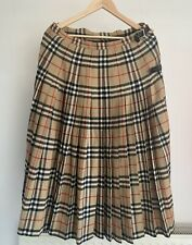 AUTHENTIC BURBERRY NOVACHECK PLEATED WOOL BUCKLE KILT WRAP SKIRT VINTAGE